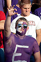 October 07, 2010: Kansas State fan flashes a Wildcat hand sign phlaying against Nebraska at the Bill Snyder Family Stadium in Manhattan, Kansas.  Nebraska defeated Kansas State 48 to 13.