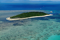 Aerial scene of Green Island at the Great Barrier Reef near Cairns Queensland Australia