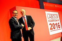 Liverpool, England. 24th September, 2016. <br /> Owen Smith (L) and Jeremy Corbyn (Right) shake hands prior to the announcement of the new leader of the Labour Party at the ACC Conference Centre. The leadership race involved nine weeks of campaigning between Labour leader Jeremy Corbyn and Owen Smith. This is his second leadership election in just over twelve months and was initiated by the decision of Angela Eagle to stand against him. Kevin Hayes/Alamy Live News