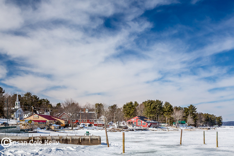 Winter scene on Long Lake in Naples, Maine, USA