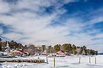 Winter scene on Long Lake in Naples, Maine, USA