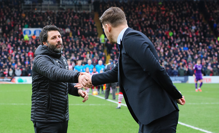 Lincoln City manager Danny Cowley, left, shakes hands with Grimsby Town manager Michael Jolley prior to the game<br /> <br /> Photographer Chris Vaughan/CameraSport<br /> <br /> The EFL Sky Bet League Two - Lincoln City v Grimsby Town - Saturday 19 January 2019 - Sincil Bank - Lincoln<br /> <br /> World Copyright &copy; 2019 CameraSport. All rights reserved. 43 Linden Ave. Countesthorpe. Leicester. England. LE8 5PG - Tel: +44 (0) 116 277 4147 - admin@camerasport.com - www.camerasport.com