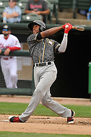 Quad Cities River Bandits right fielder Bryan De La Cruz (16) swings at a pitch against the Peoria Chiefs at Dozer Park on June 11, 2018 in Peoria, Illinois. The Chiefs won 1-0.  (Dennis Hubbard/Four Seam Images)