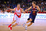 League ACB-ENDESA 2017/2018. Game: 1.<br /> FC Barcelona Lassa vs Baskonia: 87-82.<br /> Marcelinho Huertas vs Koponen Petteri.