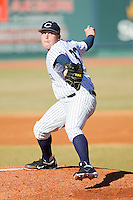 Starting pitcher JJ Jankowski #33 of the Catawba Indians in action against the Shippensburg Red Raiders at Newman Park on February 12, 2011 in Salisbury, North Carolina.  Photo by Brian Westerholt / Four Seam Images