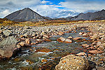 A creek from the mountain range in the Gates of the Arctic National Park & Preserve, Arctic Alaska, Autumn.