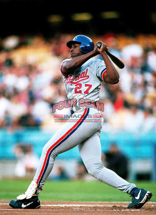Vladimir Guerrero of the Montreal Expos participates in a Major League Baseball game at Dodger Stadium during the 1998 season in Los Angeles, California. (Larry Goren/Four Seam Images)