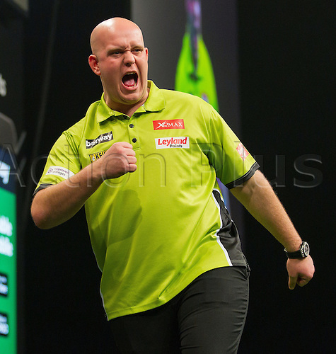 31.03.2016. The Motorpoint Arena, Cardiff.  Betway PDC Premier League Darts Judgement Night. Michael Van Gerwen punches the air after hitting a maximum