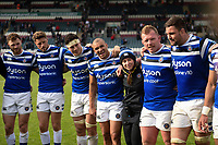 The Bath Rugby team huddle together after the match. Gallagher Premiership match, between Leicester Tigers and Bath Rugby on May 18, 2019 at Welford Road in Leicester, England. Photo by: Patrick Khachfe / Onside Images
