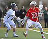 Connor DeSimone #22 of Smithtown East, right, gets pressured by Greg McLaughlin #20 of Massapequa during the second quarter of a non-league varsity boys lacrosse game at Burns Park on Saturday, Mar. 26, 2016. Smithtown East won by a score of 17-16.
