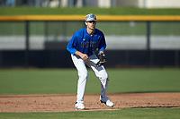 Duke Blue Devils third baseman Graham Pauley (46) on defense against the Coastal Carolina Chanticleers at Segra Stadium on November 2, 2019 in Fayetteville, North Carolina. (Brian Westerholt/Four Seam Images)