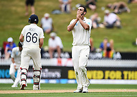 2nd December, Hamilton, New Zealand; Daryl Mitchell with a close bowl on day 4 of the 2nd test cricket match between New Zealand and England  at Seddon Park, Hamilton, New Zealand.
