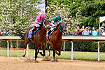 HOT SPRINGS, AR - APRIL 14: Oaklawn Handicap. Oaklawn Park on April 14, 2018 in Hot Springs,Arkansas. #11 City Of Light with jockey Drayden Van Dyke (left) and #10 Accelerate with jockey Victor Espinoza (right)(Photo by Ted McClenning/Eclipse Sportswire/Getty Images)