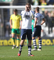Preston North End's Aidan McGeady looks dejected<br /> <br /> Photographer Mick Walker/CameraSport<br /> <br /> The EFL Sky Bet Championship - Preston North End v Norwich City - Monday 17th April 2017 - Deepdale - Preston<br /> <br /> World Copyright &copy; 2017 CameraSport. All rights reserved. 43 Linden Ave. Countesthorpe. Leicester. England. LE8 5PG - Tel: +44 (0) 116 277 4147 - admin@camerasport.com - www.camerasport.com