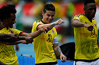 BARRANQUILLA - COLOMBIA -08-10-2015: James Rodriguez jugador de Colombia celebra con sus compañeros después de anotar un gol a Bolivia durante partido de la fecha 13 para la clasificación a la Copa Mundial de la FIFA Rusia 2018 jugado en el estadio Metropolitano Roberto Melendez en Barranquilla. /  James Rodriguez  player of Colombia celebrates  with his teammetes after scoring a goal to Bolivia during match of the date 13 for the qualifier to FIFA World Cup Russia 2018 played at Metropolitan stadium Roberto Melendez in Barranquilla. Photo: VizzorImage / Inaldo Perez / Cont