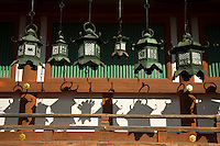 Shadows of lanterns at Kasuga Taisha Shrine, which is famous for its many lanterns that were donated by worshippers. The many bronze lanterns within the shrine as well as some of the 3000 stone lanterns leading to the shrine's approach are lit on the occasion of the Lantern Festivals in February and August.