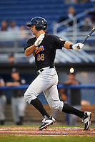 West Virginia Black Bears designated hitter Chris Harvey (10) at bat during a game against the Batavia Muckdogs on August 20, 2016 at Dwyer Stadium in Batavia, New York.  Batavia defeated West Virginia 7-2.  (Mike Janes/Four Seam Images)