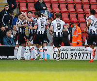 GOAL - Grimsby Town FC celebrate Sam Jones's goal during the Sky Bet League 2 match between Leyton Orient and Grimsby Town at the Matchroom Stadium, London, England on 11 March 2017. Photo by Carlton Myrie / PRiME Media Images.