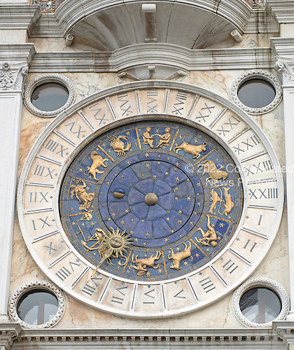 The Clock that is on the front of the Clock Tower on the north side of the Piazza San Marco in Venice, Italy over the entrance to the Merceria, the chain of shopping areas that extends from the Piazza San Marco to the Rialto Bridge on Monday, October 28, 2013.<br /> Credit: Ron Sachs / CNP
