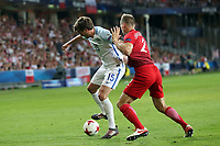 John Swift of England and Pawel Jaroszynski of Poland during England Under-21 vs Poland Under-21, UEFA European Under-21 Championship Football at The Kolporter Arena on 22nd June 2017