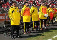 31 March 2011: The Columbus Crew head coach Robert Warzycha and his training staff during the opening ceremonies in a game between the Columbus Crew and the Toronto FC at BMO Field in Toronto, Ontario Canada..The Columbus Crew won 1-0.