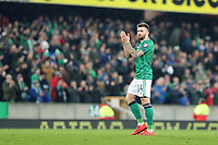 16th November 2019; Windsor Park, Belfast, County Antrim, Northern Ireland; European Championships 2020 Qualifier, Northern Ireland versus Netherlands; Northern Ireland's Stuart Dallas applauds the Northern Ireland fans at the end of the match - Editorial Use