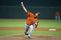 Buies Creek Astros starting pitcher Justin Ferrell (29) delivers a pitch to the plate against the Winston-Salem Dash at BB&T Ballpark on April 13, 2017 in Winston-Salem, North Carolina.  The Dash defeated the Astros 7-1.  (Brian Westerholt/Four Seam Images)
