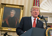 U.S. President Donald J. Trump speaks while visiting with survivors from the USS Arizona at The White House in Washington, DC, July 21, 2017. <br /> Credit: Chris Kleponis / Pool via CNP