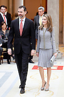 Prince Felipe of Spain and Princess Letizia of Spain attend the National Awards of Culture 2011 and 2012 at Palacio de El Pardo. February 19, 2013. (ALTERPHOTOS/Caro Marin) /NortePhoto