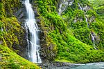 Horsetail Falls cascading down Keystone Canyon, Valdez, Southcentral Alaska, Summer.