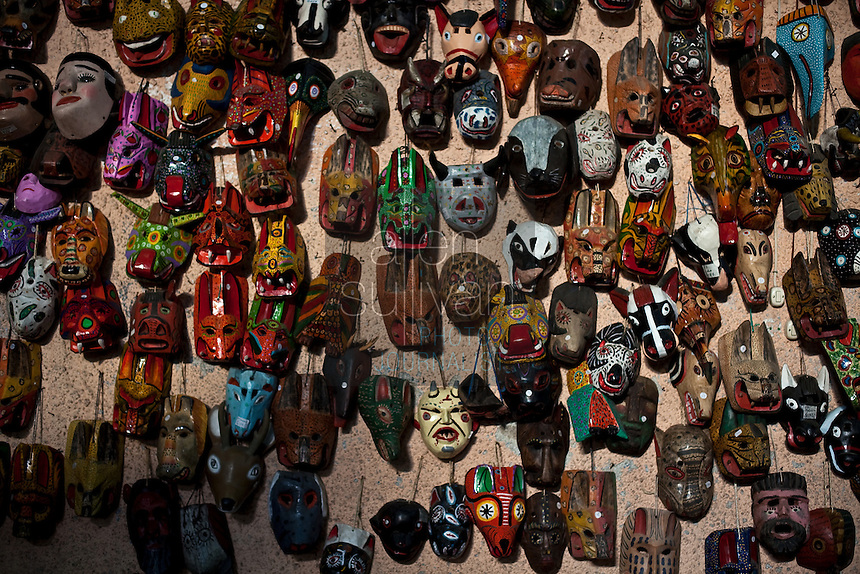 Masks for sale on display in a textile store in La Antigua, Sacatepéquez, Guatemala.