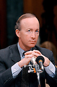 "Mitchell E.  ""Mitch"" Daniels, Jr., Director, Office of Management and Budget, testifies before the United States Senate Budget Committee on February 5, 2002 in Washington, DC.  The Committee was questioning Daniels about US President George W. Bush's proposed budget request for Fiscal Year 2003.<br /> Credit: Ron Sachs / CNP"