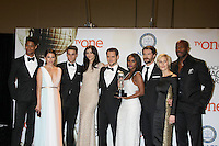 "LOS ANGELES - FEB 6:  (L-R) Actor Alfred Enoch, actress Karla Souza, actor Jack Falahe, actress Katie Findlay, actor Matt McGorry, actress Aja Naomi King, actor Charlie Weber, actress Liza Weil and actor Billy Brown of ""How to Get Away with Murder"" at the 46th NAACP Image Awards Press Room at a Pasadena Convention Center on February 6, 2015 in Pasadena, CA"