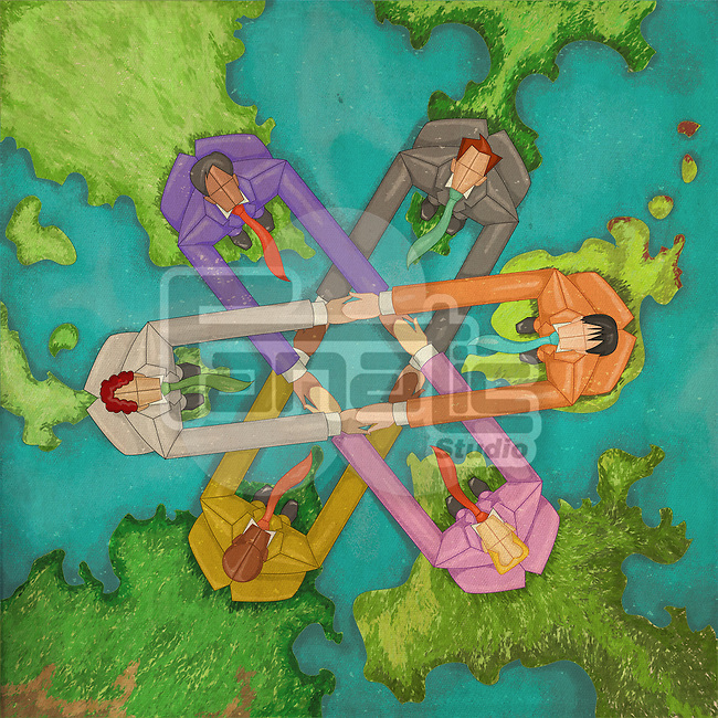 Illustrative image of multi ethnic business people holding hands on world map