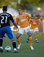 22 May 2008: Stuart Holden of the Dynamo in action during the game against the Earthquakes at Buck Shaw Stadium in San Jose, California.   San Jose Earthquakes defeated Houston Dynamo, 2-1.