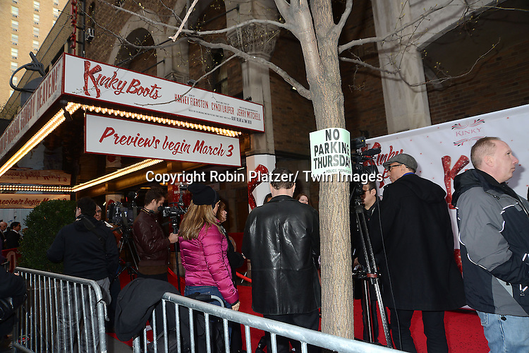 "The Marquee at the ""Kinky Boots"" Broadway Opening on April 4, 2013 at The Al Hirschfeld Theatre in New York City. Harvey Fierstein wrote is the Book Writer and Cnydi Lauper is the Composer."
