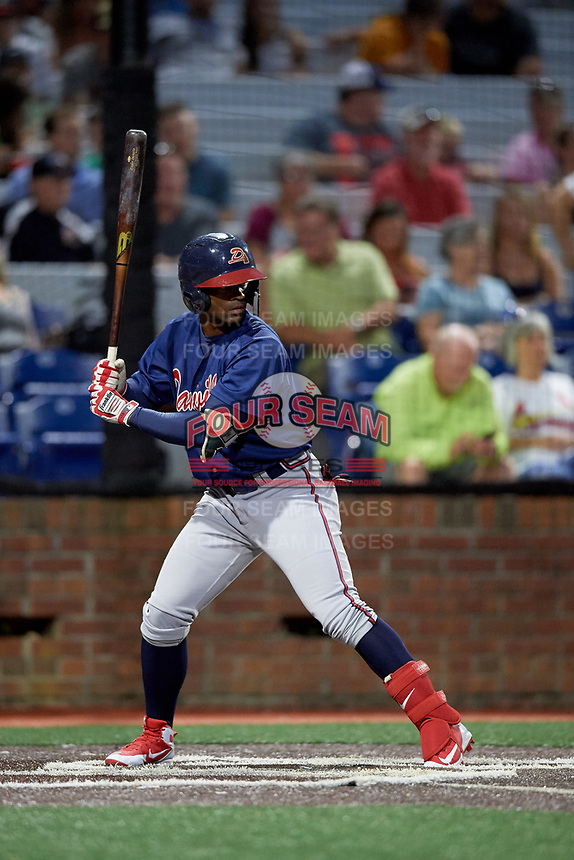 Danville Braves right fielder Henry Quintero (24) at bat during a game against the Johnson City Cardinals on July 28, 2018 at TVA Credit Union Ballpark in Johnson City, Tennessee.  Danville defeated Johnson City 7-4.  (Mike Janes/Four Seam Images)