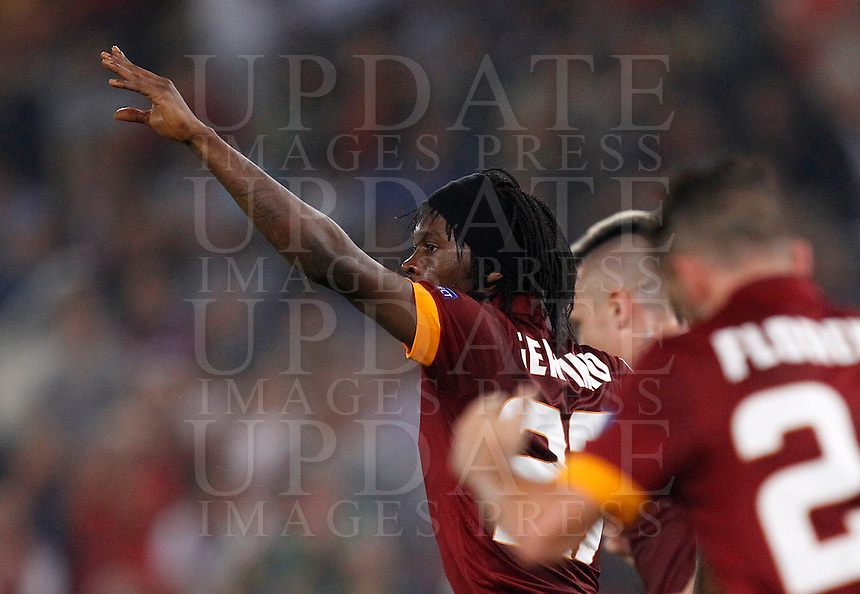 Calcio, Champions League, Gruppo E: Roma vs Bayern Monaco. Roma, stadio Olimpico, 21 ottobre 2014.<br /> Roma&rsquo;s Gervinho celebrates after scoring during the Group E Champions League football match between AS Roma and Bayern at Rome's Olympic stadium, 21 October 2014.<br /> UPDATE IMAGES PRESS/Isabella Bonotto
