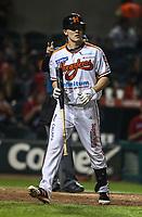 Jose Cardona, durante juego de beisbol de la Liga Mexicana del Pacifico temporada 2017 2018. Tercer juego de la serie de playoffs entre Mayos de Navojoa vs Naranjeros. 04Enero2018. (Foto: Luis Gutierrez /NortePhoto.com)