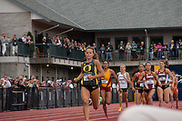 University of Oregon senior and North Dakota native Laura Roesler charges down the home-stretch, pulling away from the field on her way to victory in the 800-meter run at the 2014 NCAA Division I Outdoor Track and Field Championships in Eugene, Oregon, Friday, June 13.