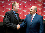 MADISON, WI - JULY 28:  Wisconsin Badgers defensive coordinator Bret Bielema poses with head coach Barry Alvarez after being announced as the successor to Barry Alvarez at the end of the 2005 football season at the Kohl Center on July 28, 2005 in Madison, Wisconsin. Photo by David Stluka
