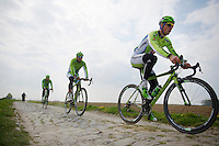 Peter Sagan (SVK/Cannondale) and teammates testing the cobbles<br /> <br /> 2014 Paris-Roubaix reconnaissance