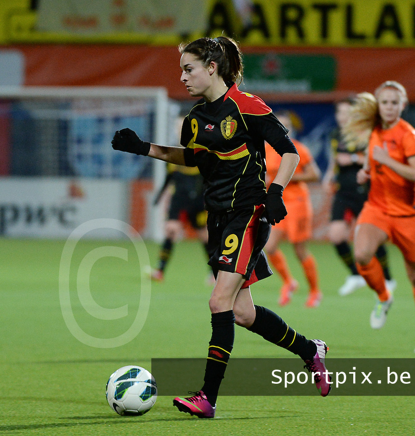 20140212 - ZWOLLE , THE NETHERLANDS : Belgian Tessa Wullaert pictured during the female soccer match between The Netherlands and Belgium , on the fifth matchday in group 5 of the UEFA qualifying round to the FIFA Women World Cup in Canada 2015 at Het Ijseldelta Stadion , Zwolle . Wednesday 12th February 2014 . PHOTO DAVID CATRY