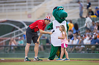 Kannapolis Intimidators Director of Communications Josh Feldman interviews a young fan before she races mascot Tim E. Gator between innings of the game against the Delmarva Shorebirds at Kannapolis Intimidators Stadium on July 3, 2017 in Kannapolis, North Carolina.  The Shorebirds defeated the Intimidators 5-2.  (Brian Westerholt/Four Seam Images)