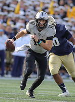 Annapolis, MD - October 21, 2017: UCF Knights quarterback McKenzie Milton (10) scrambles during the game between UCF and Navy at  Navy-Marine Corps Memorial Stadium in Annapolis, MD.   (Photo by Elliott Brown/Media Images International)