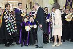 ALCALA DE HENARES, SPAIN - APRIL 27: King Juan Carlos of Spain, Queen Sofia of Spain, Spanish writer Ana Maria Matute and guests pose for the photographers after the Cervantes award ceremony at the Alcala de Henares University on April 27, 2011 in Alcala de Henares, near of Madrid, Spain...Photo: Cesar Cebolla / ALFAQUI