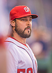 20 September 2013: Washington Nationals pitcher Tanner Roark looks out from the dugout prior to a game against the Miami Marlins at Nationals Park in Washington, DC. The Nationals shut out the Marlins 8-0 to take the second game of their 4-game series. Mandatory Credit: Ed Wolfstein Photo *** RAW (NEF) Image File Available ***