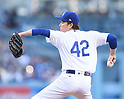 Kenta Maeda (Dodgers),<br /> APRIL 15, 2017 - MLB :<br /> Los Angeles Dodgers starting pitcher Kenta Maeda wears the number 42 in honor of Jackie Robinson Day as he pitches during the Major League Baseball game against the Arizona Diamondbacks at Dodger Stadium in Los Angeles, California, United States. (Photo by AFLO)