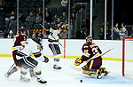 SIOUX FALLS, SD - MARCH 23: Zeb Knutson #10 from Mankato celebrates a goal past goalie Hunter Shepard #32 from Minnesota Duluth during their game at the 2018 West Region Men's NCAA DI Hockey Tournament at the Denny Sanford Premier Center in Sioux Falls, SD. (Photo by Dave Eggen/Inertia)
