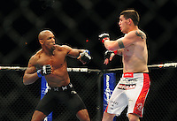 Oct. 29, 2011; Las Vegas, NV, USA; UFC fighter Francis Carmont (left) against Chris Camozzi during a middleweight bout during UFC 137 at the Mandalay Bay event center. Mandatory Credit: Mark J. Rebilas-
